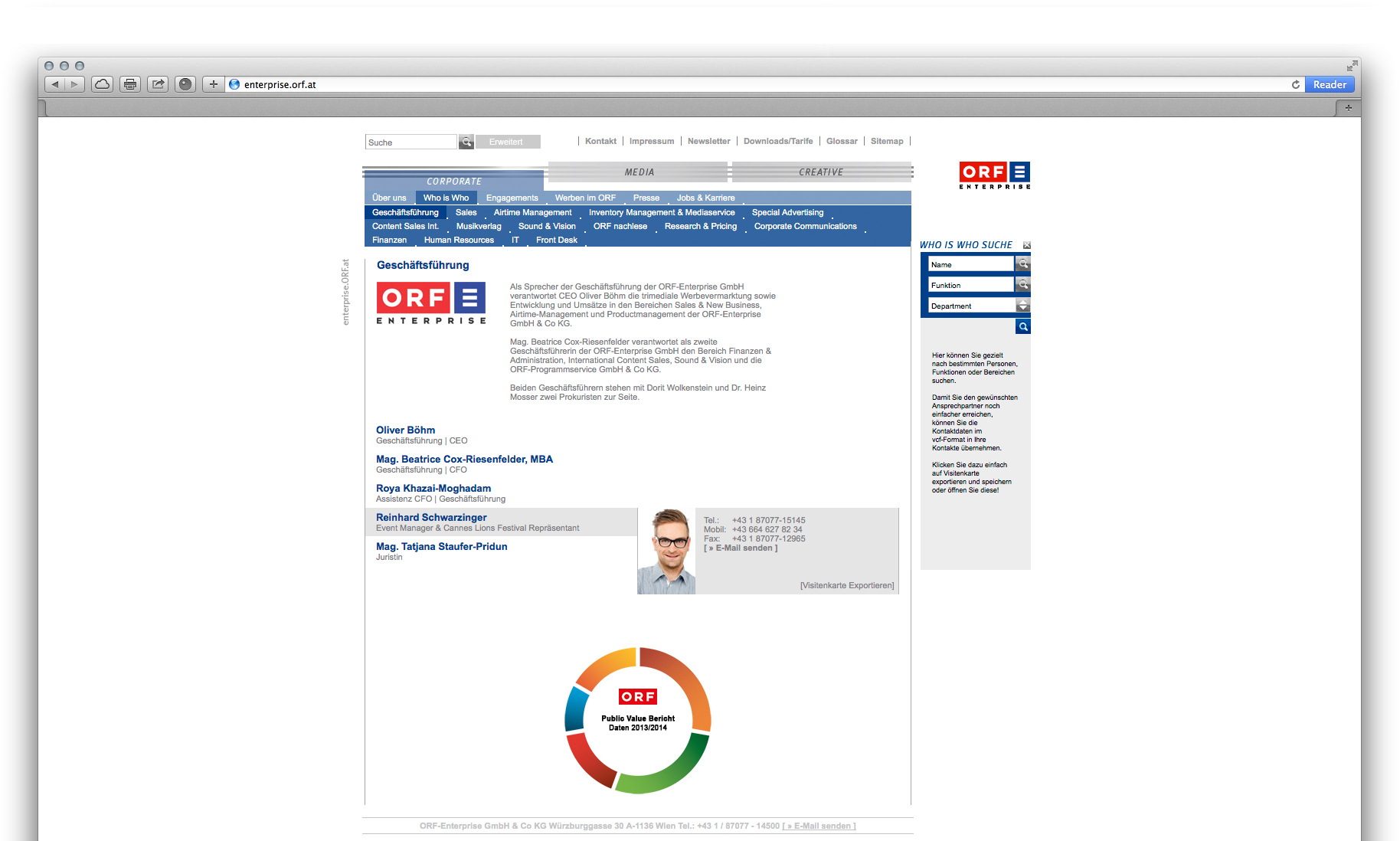 "Website ""ORF-Enterprise"" Menüauswahl ""Corporate"""